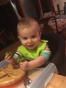Orion eating Szechuan Broccoli